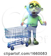 Funny Cartoon Zombie Monster Goes Shopping With His Trolley by Steve Young