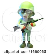 Undead Zombie Monster Soldier Carrying A Rifle