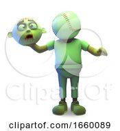 Poor Halloween Zombie Monster Has Been Beheaded And Has A Baseball Instead Of A Head by Steve Young