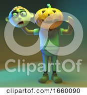 Weird 3d Cartoon Undead Zombie Monster Has A Carved Pumpkin For A Head by Steve Young