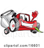 Clipart Picture Of A Red Lawn Mower Mascot Cartoon Character Waving Hello And Eating Grass by Toons4Biz