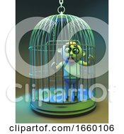 Funny 3d Cartoon Undead Zombie Monster Trapped Behind Bars In A Birdcage