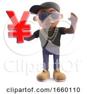Wealthy Black Hiphop Rapper In A Baseball Cap Holding A Japanese Or Chinese Yen Yuan Currency Symbol