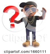 Mysterious Black Hiphop Rapper In Baseball Cap Holding A Question Mark Symbol