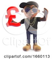 Cool Black Hiphop Rapper In Baseball Cap Holding A UK Pounds Sterling Currency Symbol by Steve Young