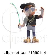 Black Hiphop Rapper In Baseball Cap With Fishing Rod And Waving
