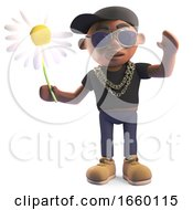 3d Cartoon Black Hiphop Rapper In Baseball Cap Holding A Daisy Flower