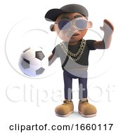 Cartoon Black Hiphop Rapper In Baseball Cap Holding A Football 3d Illustration