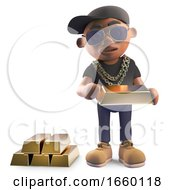Wealthy Black Hiphop Rapper In Baseball Cap Counting His Gold Bars Of Bullion