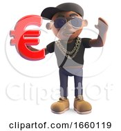 Cool Black Hiphop Rapper In Baseball Cap Holding A Euro Currency Symbol by Steve Young