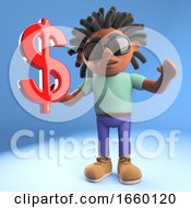 Black Man With Dreadlocks Holding A Red US Dollar Currency Symbol