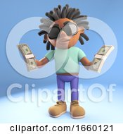 Black Afro Caribbean Man With Dreadlocks Holding Wads Of Cash US Dollars
