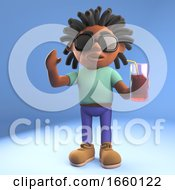 Relaxed Afro Caribbean Man With Dreadlocks Drinking A Soft Drink