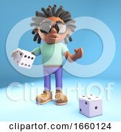 Cool Black Man With Dreadlocks Prepares To Throw The Dice