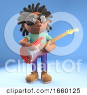 Poster, Art Print Of Musical Black Afro Caribbean Man With Dreadlocks Playing Electric Guitar