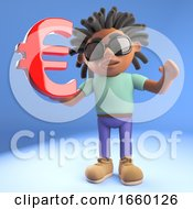 Black Afro Caribbean Man With Dreadlocks Holding A Euro Currency Symbol