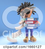 Careless Black Afro Caribbean Man With Dreadlocks Drops Files From Folders He Is Carrying 3d Illustration