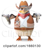 Dangerous Sheriff Penguin The Wild West Cowboy Draws Both His Pistols by Steve Young