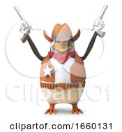 Sheriff Penguin The Brave Western Cowboy Firing Both His Pistols In The Air by Steve Young