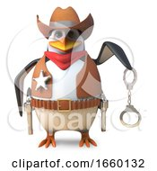 Honest Sheriff Penguin The Brave Lawman Cowboy Holds Out His Handcuffs