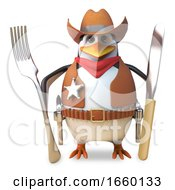 Hungry Sheriff Penguin The Brave Cowboy Is Hungry And Holds His Knife And Fork Ready