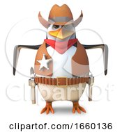 Brave Sheriff Penguin The Wild West Cowboy Ready To Quick Draw In A Gun Battle by Steve Young