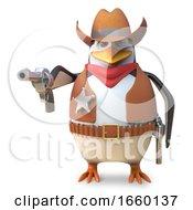 Sharpshooter Sheriff Penguin The Cartoon Cowboy Aims His Gun With Deadly Accuracy
