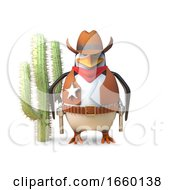 Sheriff Cowboy Penguin Stands Aloof Near A Cactus In The Wild West by Steve Young