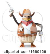 Sheriff Penguin The Brave Western Cowboy Fires His Pistol In The Air
