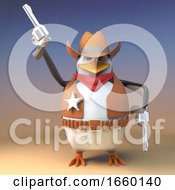 Wild West Cowboy Penguin Sheriff Fires One Of His Pistols In The Air For Effect