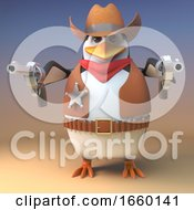Wild West Penguin Sheriff Cowboy Points Both His Pistols At The Viewer For Dramatic Effect