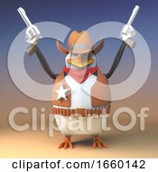 Angry Cowboy Penguin Sheriff Fires Both His Pistols In The Air In The Wild West