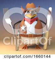 Hungry Wild West Sheriff Cowboy Penguin Holds His Knife And Fork Ready For Beans
