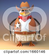 Wild West Cowboy Penguin Sheriff Stands Steadfast Ready To Draw His Pistols
