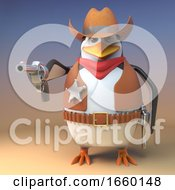 Wild West Penguin Sheriff Cowboy Has Drawn His Pistol And Is Pointing It At The Viewer