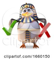 Penguin Pharaoh Tutankhamun Has To Choose Between A Tick And A Cross by Steve Young