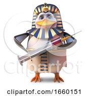 Cool Ancient Penguin Pharaoh Penguin Tutankhamun Holding A Syringe
