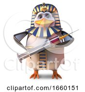 Cool Ancient Penguin Pharaoh Penguin Tutankhamun Holding A Syringe by Steve Young