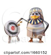 Accurate Penguin Pharaoh Tutankhamun Points At The Bullseye On The Target by Steve Young