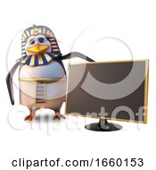 Penguin Pharaoh Tutankhamun Is Pleased With The Latest Widescreen High Definition Gold Television