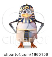 Ancient Penguin Pharaoh Tutankhamun Stands Regally With Hands On Hips