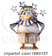 Stunned Ancient Pharaoh Penguin Tutankhamun Is Dizzy And Stunned With Stars Spinning by Steve Young