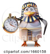 Time Obsessed Penguin Pharaoh Tutankhamun Using A Stopwatch by Steve Young
