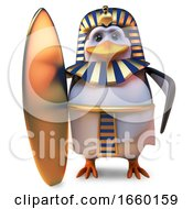 Noble Penguin Pharaoh Tutankhamun Holding The Latest In Gold Surfboards by Steve Young