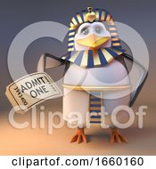Noble Penguin Pharaoh Tutankhamun Holding A Ticket Of Admission To A Show