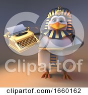 Graceful Penguin Pharaoh Tutankhamun Holding A Golden Typewriter