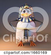 Noble 3d Penguin Pharaoh Tutankhamun Stands With Hands On Hips