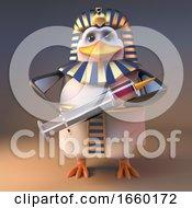 Cartoon 3d Penguin Pharaoh Tutankhamun Holding A Syringe Full Of Medicine