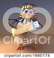 Royal Penguin Pharaoh Tutankhamun Holding A Golden Usb Thumb Drive Memory Stick