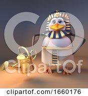 Keen Gardener Penguin Pharaoh Tutankhamun Watering The Desert